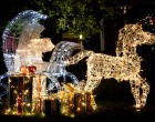 Many light-covered figures adorned lawns through out the neighborhood.
