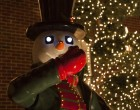 Snowmen like this animated decoration, featuring glowing eyes, are also a popular theme.