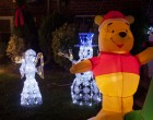 Holiday versions of characters like Winnie the Pooh are a popular addition to more traditional decorations.