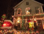 Many of the houses incorporate blow-up decorations alongside their lights.