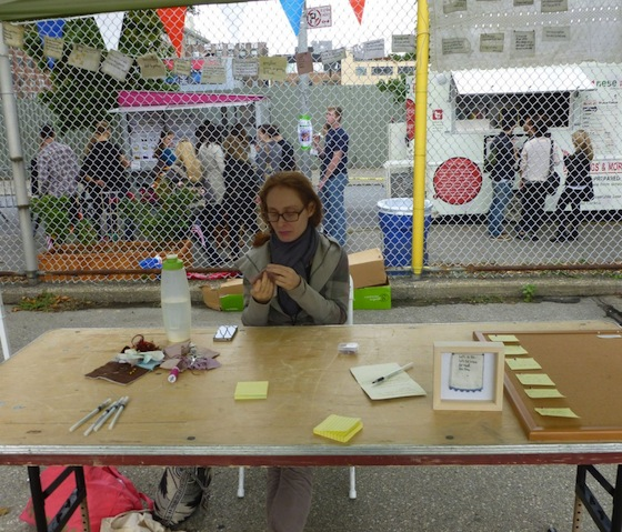 Iviva Olenick at the Dumbo Arts Festival this past fall, where she was collecting and embroidering confessions.