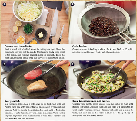 Blue Apron instructions for Seared Tuna with Kumquats, Black Rice and Napa Cabbage