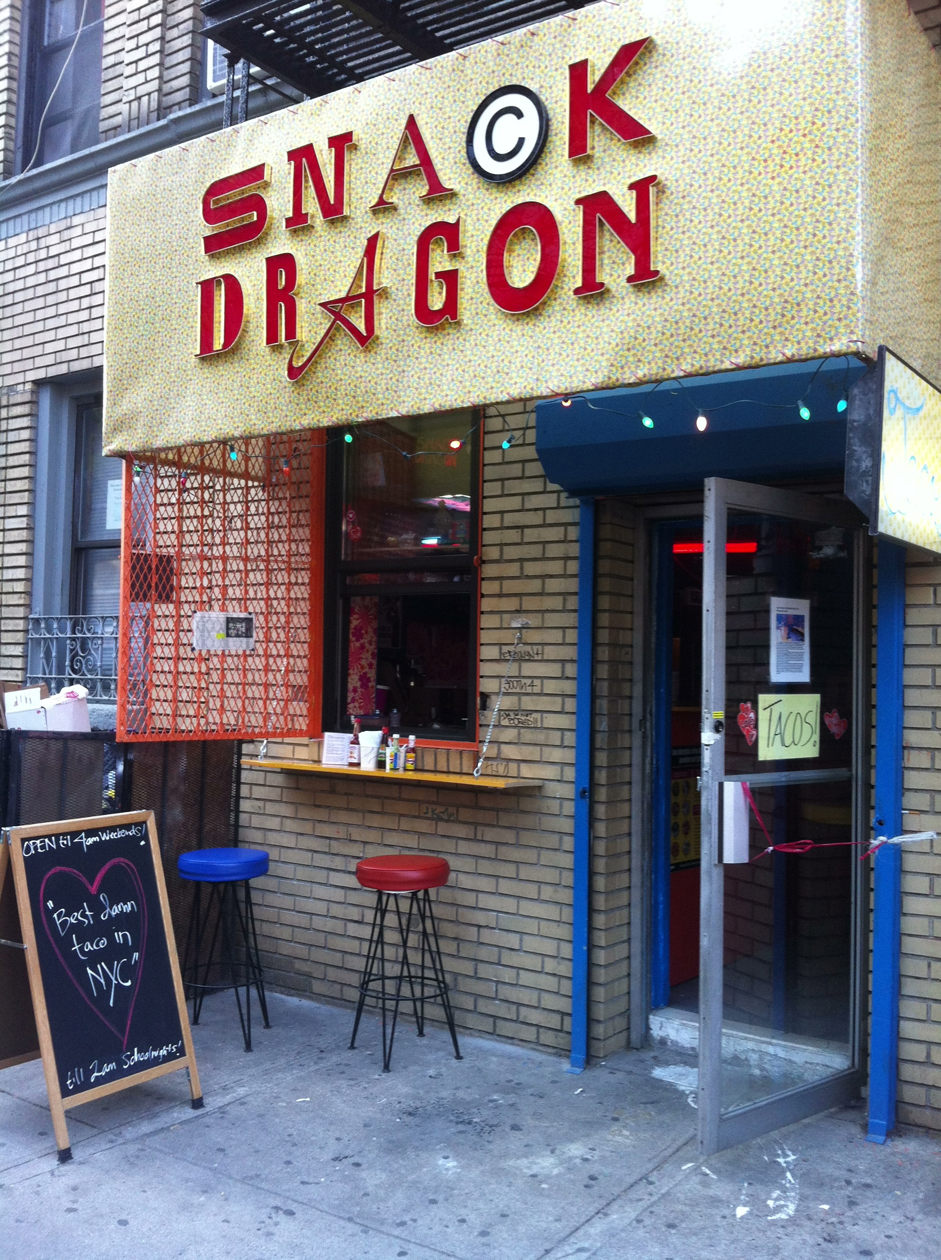 Snack Dragon, an East Village favorite for late-night tacos, opened a taco shack in Williamsburg back in February on S. 4th Street. Photo: Daniel Broadhurst