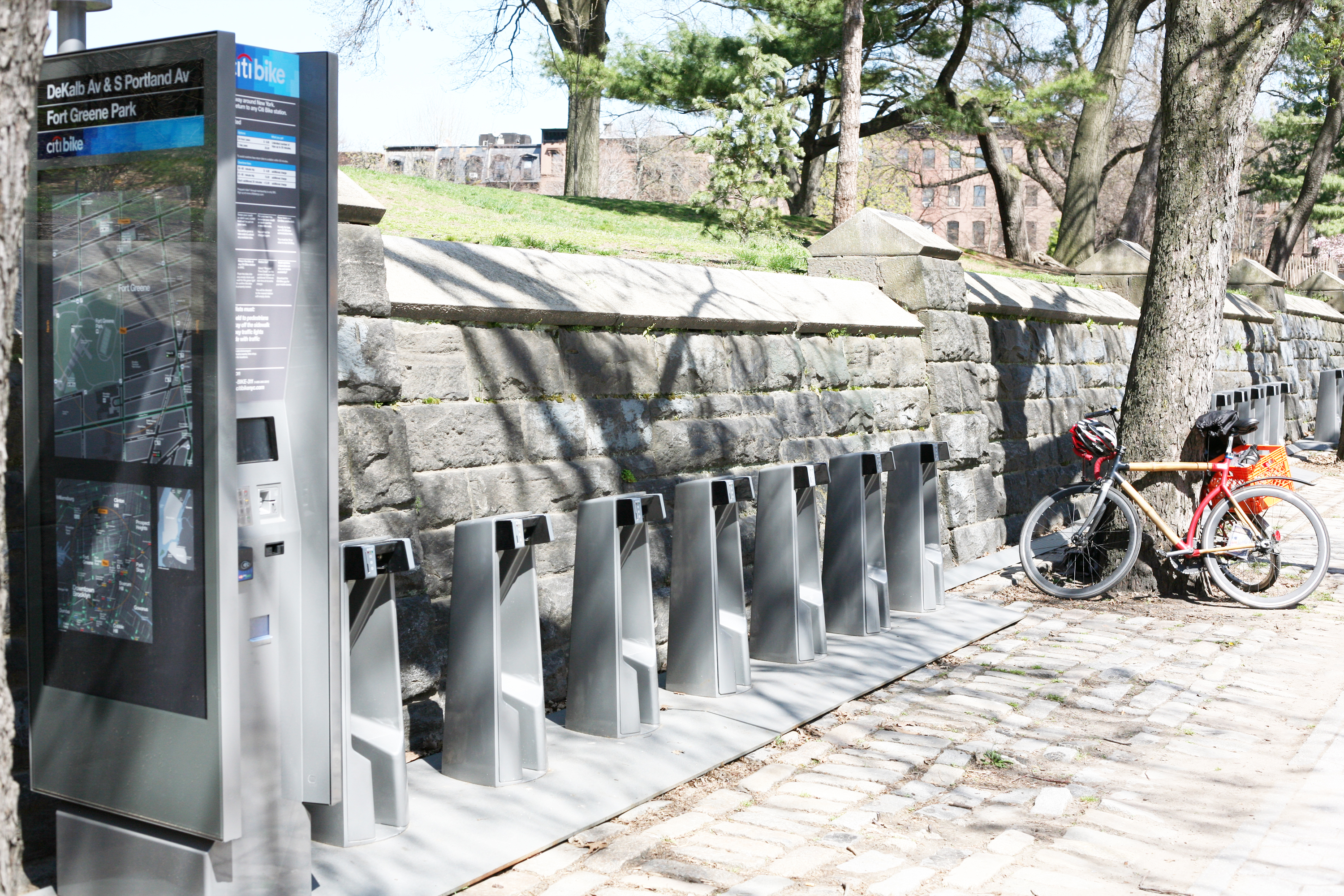 Bike stations, like these on Dekalb Avenue outside Fort Greene Park, started being installed earlier this month ahead of the Citi Bike share program expected to be up and running in May. Photo: Daniel Broadhurst