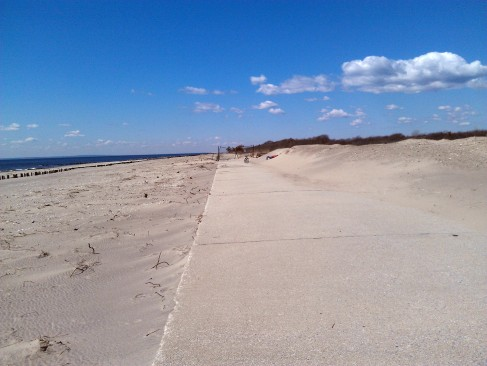 Extensive erosion of its sand dunes is a major factor in Fort Tilden's staying closed this summer. Photo: Sunny Cyr