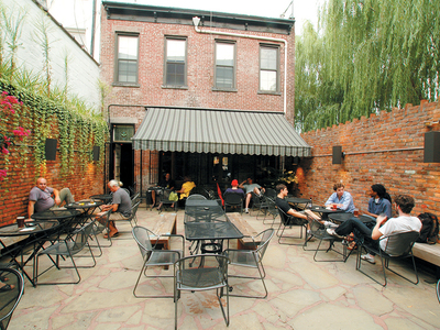 The back patio of LIC Bar, one of the stops on our Total Long Island City Immersion
