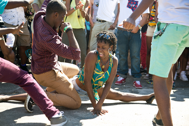 Double teaming the break dance circle at Afro Punk Festival. Photo: Jeanette D. Moses