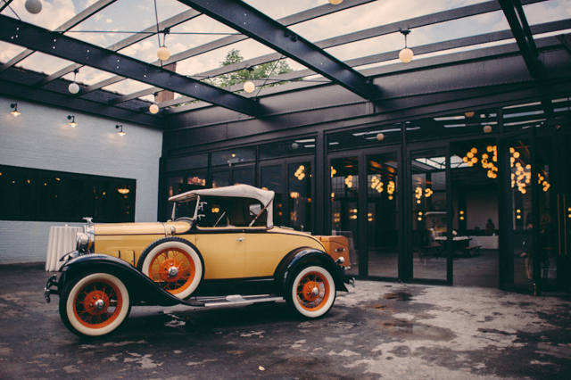 Inside the courtyard of 501 Union. Note, classic cars not included in every wedding. Credit: JBM Wedding Photograpy