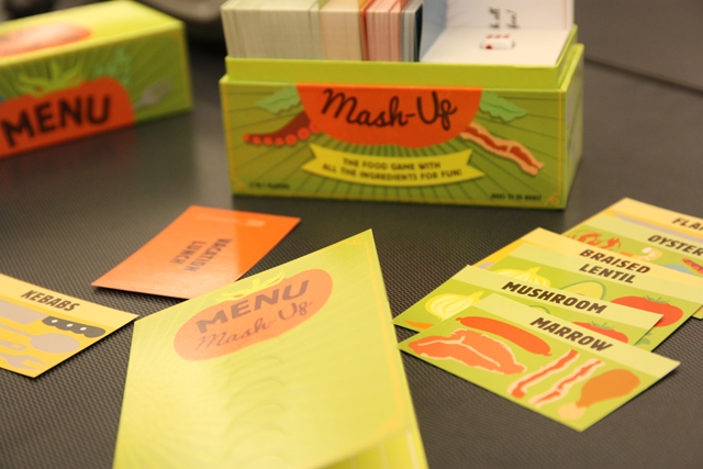 The cards and menu envelops in Menu Mash-Up come inside a compact , portable box. Photo: Gabrielle Alfiero