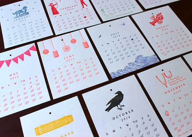 Designs like this card-stock calendar for the year to come are created by Breck Hostetter (above) and printed on 100-year-old presses at her studio in Dumbo. Photo: Sesame Letterpress