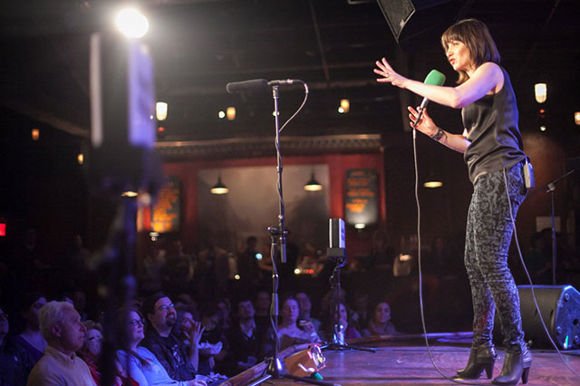 Watch Ophira Eisenberg charm crowds and fellow comics alike at the next taping the comedy quiz show Ask Me Another, happening at The Bell House on Jan. 21. Photo: Steve McFarland/NPR