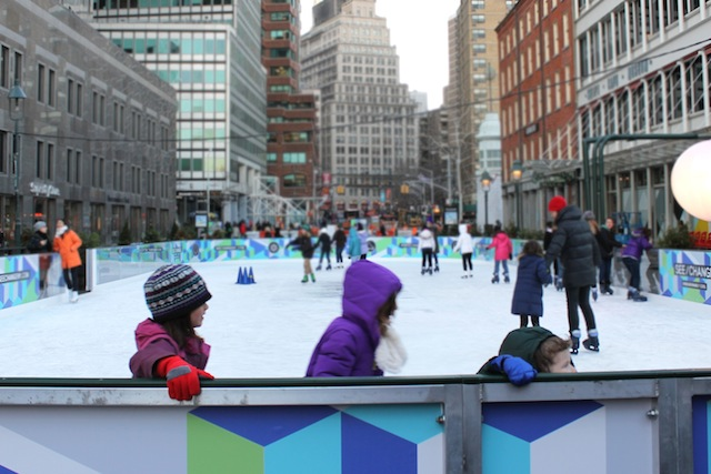 The pop-up rink at the Seaport, accessible by ferry, and adjacent to a shipping container bar, promises even more fun at night. Photo: South Street Seaport