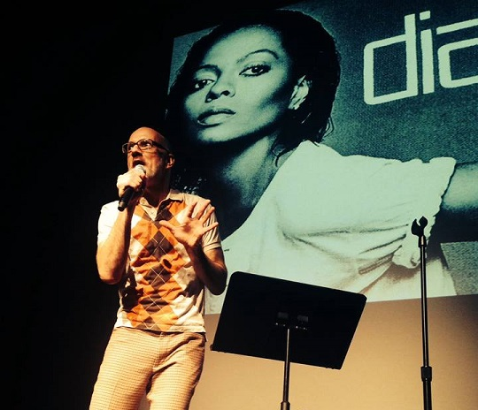 Performer Jay Byrd telling a story about Diana Ross at The Soundtrack Series. Photo: Soundtrack Series