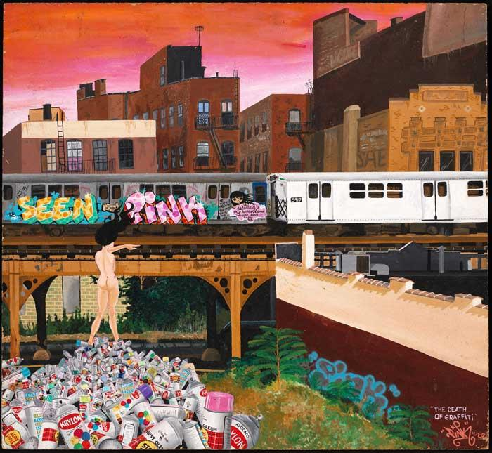 """""""The Death of Graffiti"""" by Lady Pink is part of the CIty as Canvas exhibit at the Museum of the City of New York. Photo: MCNY"""