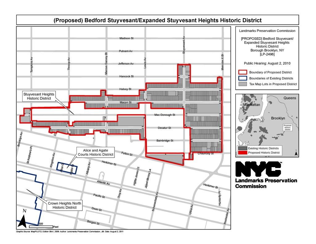 The city's official map of the recently expanded Stuyvesant Heights Historic District.