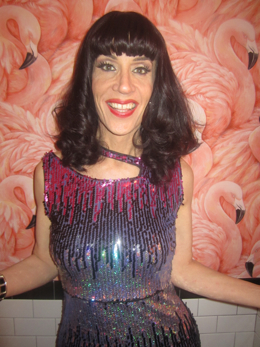 Recognize the wallpaper? Linda Simpson (pictured) and Murray Hill host Drag Bingo at Royal Palms on Wednesday. Photo by Cat Feral.