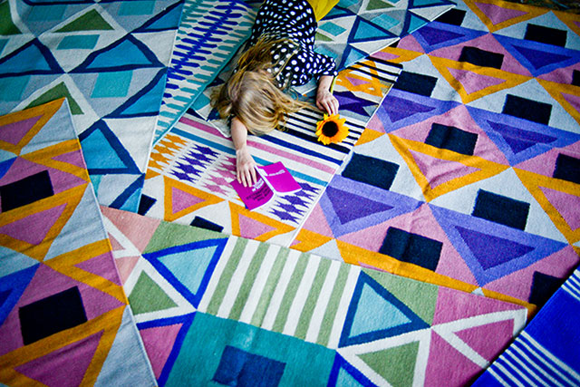 Aelfie Oudghiri designs rugs using abstracts from traditional tribal patterns in fun and hard-to-find color combinations. Photo: Aelfie