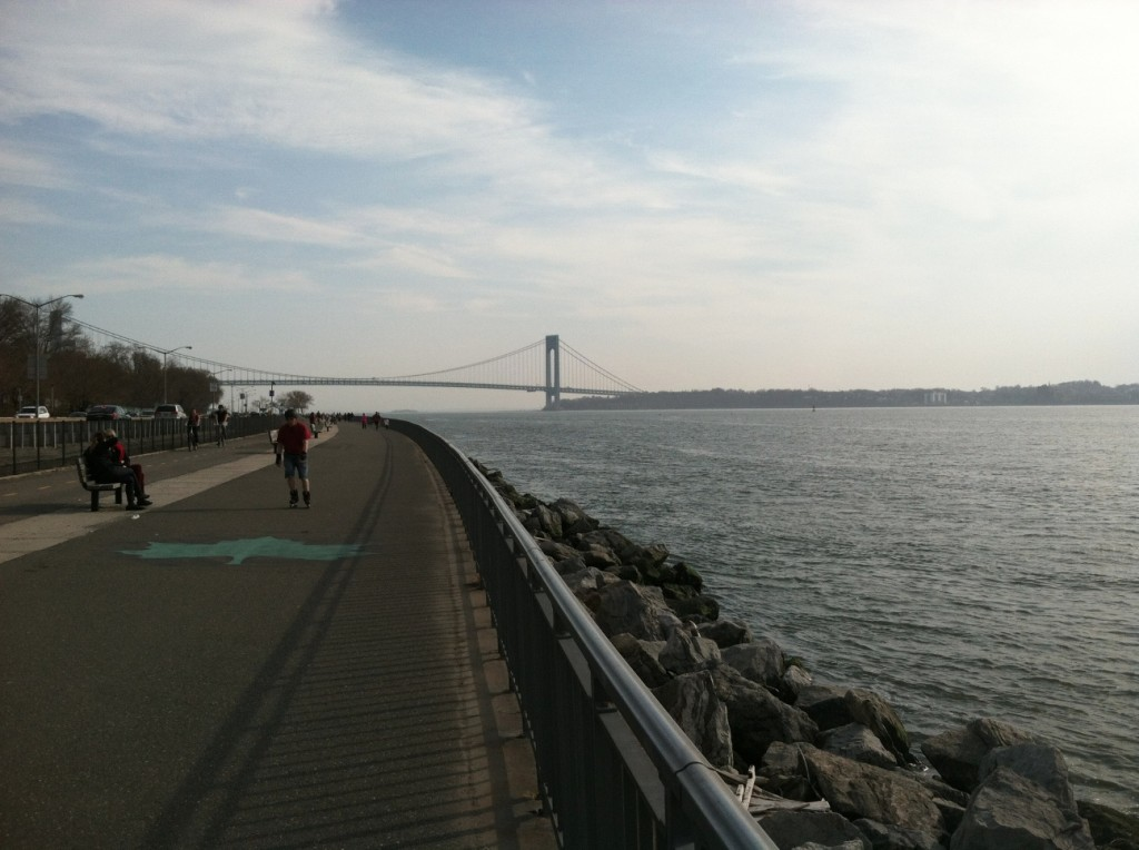A view of the water and the Verrazano-Narrows Bridge from the Shore Road walking/bicycle path near the 79th Street overpass.