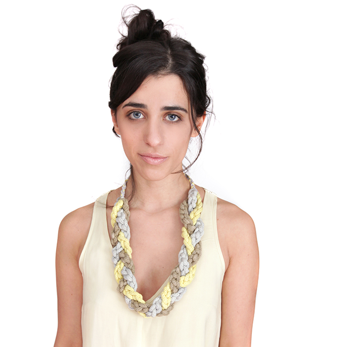Lauren Musacchio modeling a rope necklace ($45)