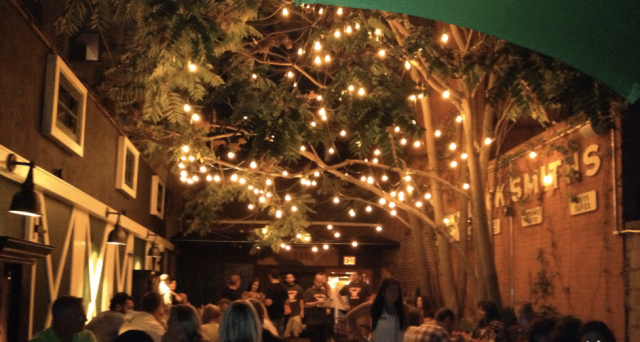 Lock Yard, a former locksmith shop turned bar with a 1300-square-foot garden for eating and drinking. Photo: Lock Yard