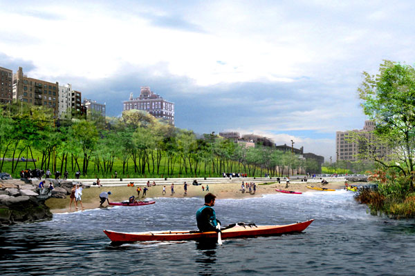 A new beach, as envisioned in this rendering, and five more acres of recreation space are scheduled to open at Brooklyn Bridge Park this Thursday. Rendering: MVVA/NYC Parks