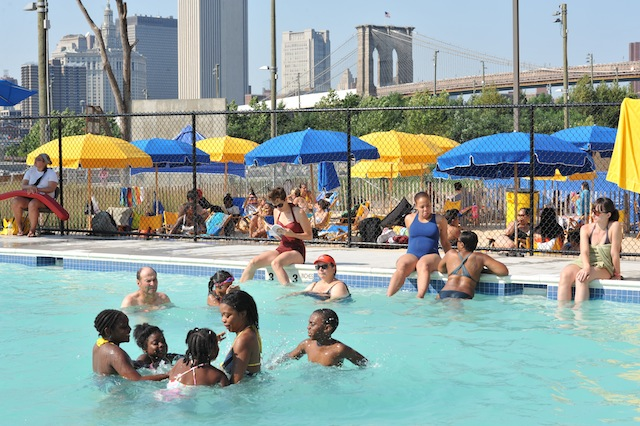 The pop-up pool in Brooklyn Bridge Park is back. Photo:  Julienne Schaer