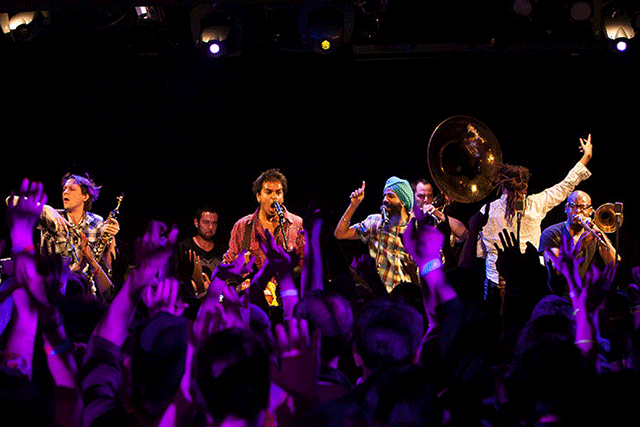 Brooklyn bhangra party band Red Baraat will premiere new work commissioned by NPR during Make Music New York, on June 21. Photo: Red Baraat