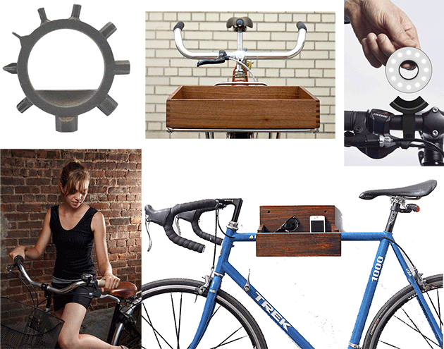 Clockwise from top left: Reductivist Ringtool ($28); Surname Goods Co. Porteur Crate ($110);  Paul Cocksedge Double O Light  ($115); CB2 Wood Bike Storage ($49.95); Nona Varnado Little Black Bike Dress ($90)