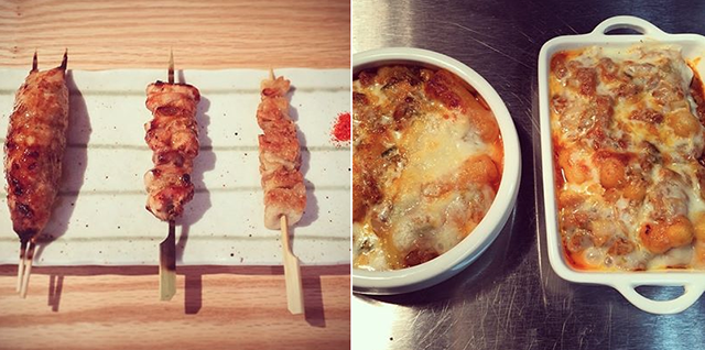 Meaty skewers at Bar Chuko and mozzarella and kimchee topped rice cakes. Photos: Bar Chuko