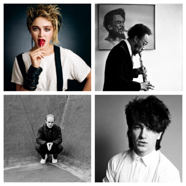 Clockwise from the top left: Madonna, TK, Bono and Brian Eno. Photos by Deborah Feingold (Shore Fire)