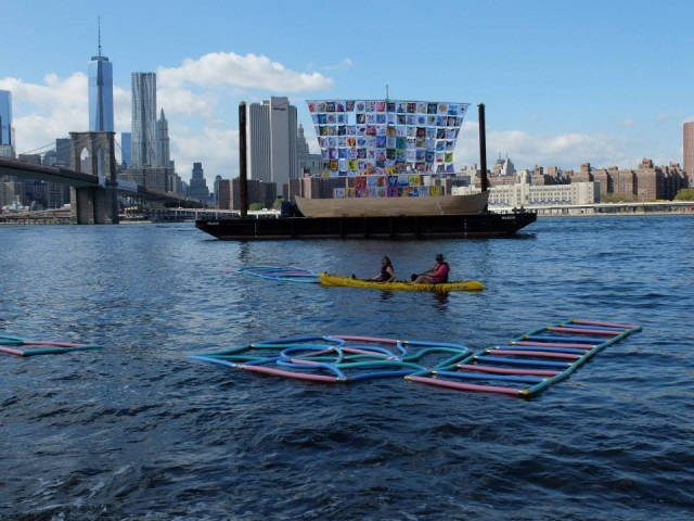 "The DUMBO Arts Festival returns this weekend with captivating public art. Pictured are installations on the East River from last year, ""Ship of Tolerance"" by Ilya and Emilia Kabakov and ""Extra Perimeters"" by Kim Holleman. Photo: Lisa Kim"
