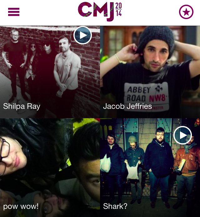 The CMJ app lets you save the shows you want to see, and reminds you of them 15 minutes before showtime.