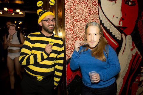 "Internet addicts unite and take over at Hallowmeme each year, posing as everything ubiquitous and viral, whether it's BuzzFeed or the popular Vine, ""Ryan Gosling Won't Eat His Cereal"" (right), both from last year's party. Photo: Forced Meme Productions"