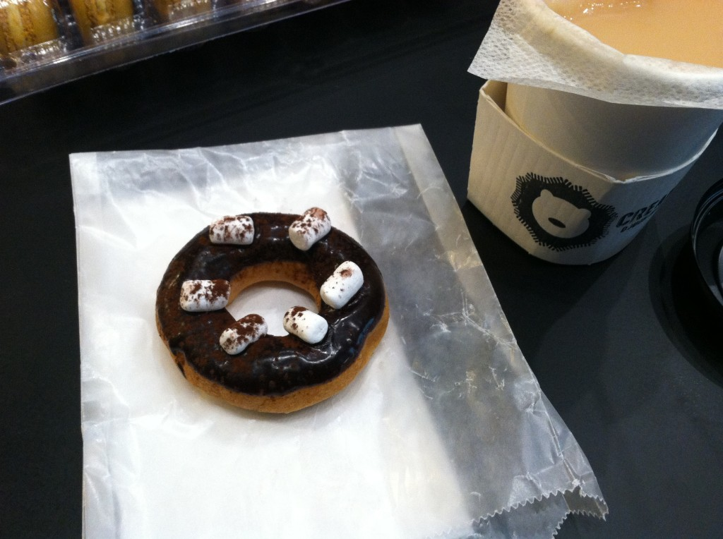 Hot chocolate with marshmallows doughnut at Cream Doughnuts. (David Chiu)