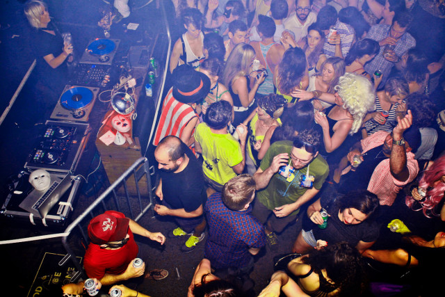 The last time CHERYL hosted a dance party at Glasslands it was to celebrate their (faux) 100th anniversary. Saturday they're mourning the death of Williamsburg at their last party at the soon-to-close venue. Photo: Maro Hagopian