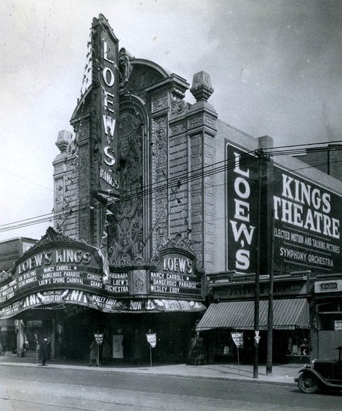 Historic image of the Kings Theatre (From the Loew's Collection, American Theatre Architecture Archive, Theatre Historical Society of America)