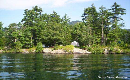 Camp on an island in the middle of Lake George this summer. Photo: