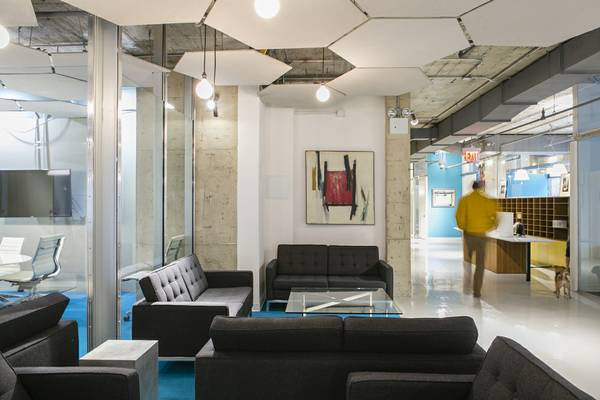 There are two colorful floors of co-working and office space at the Lincoln Square Yard--the first floor is accented in blue, the second in hot pink. Photo:  The Yard