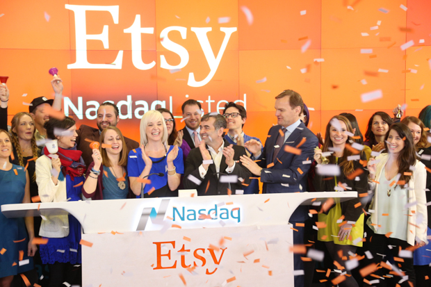 Etsy's IPO this morning is a sign of good things to come for the Brooklyn tech startup scene. See what all the fuss is about at a celebratory popup market in Times Square today. Photo: Nasdaq