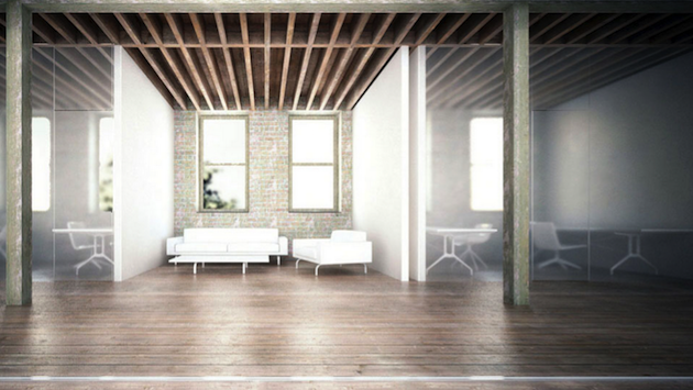 A rendering of one of the lounge areas and private office space inside Cowork.rs' Gowanus branch. Photo: Cowork.rs