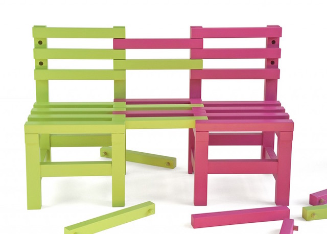 "These transformable children's chairs come with a moral. ""There's always room for one more."" Photo:  Noviembre Estudio"