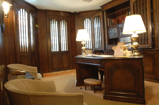 The wood paneled den is where Louis Armstrong made all of his collection of home recordings. Photo: Courtesy of Louis Armstrong House Museum