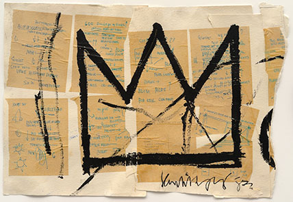 Jean-Michel Basquiat (American, 1960–1988). Untitled (Crown), 1982. Acrylic, ink, and paper collage on paper, 20 x 29 in. (50.8 x 73.66 cm). Private collection, courtesy of Lio Malca. Copyright © Estate of Jean-Michel Basquiat, all rights reserved. Licensed by Artestar, New York. Photo: Mark-Woods.com