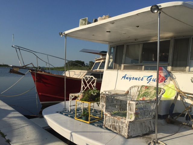 Anyone's Guest, one of a few houseboats available for an overnight stay in the Rockaways. Photo: Nicole Davis