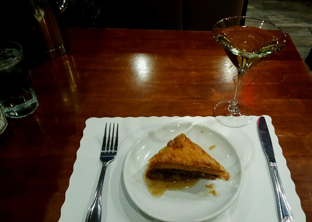 Baklava and a martini--what else do you finish the night with? Photo: Kenneth Rosen