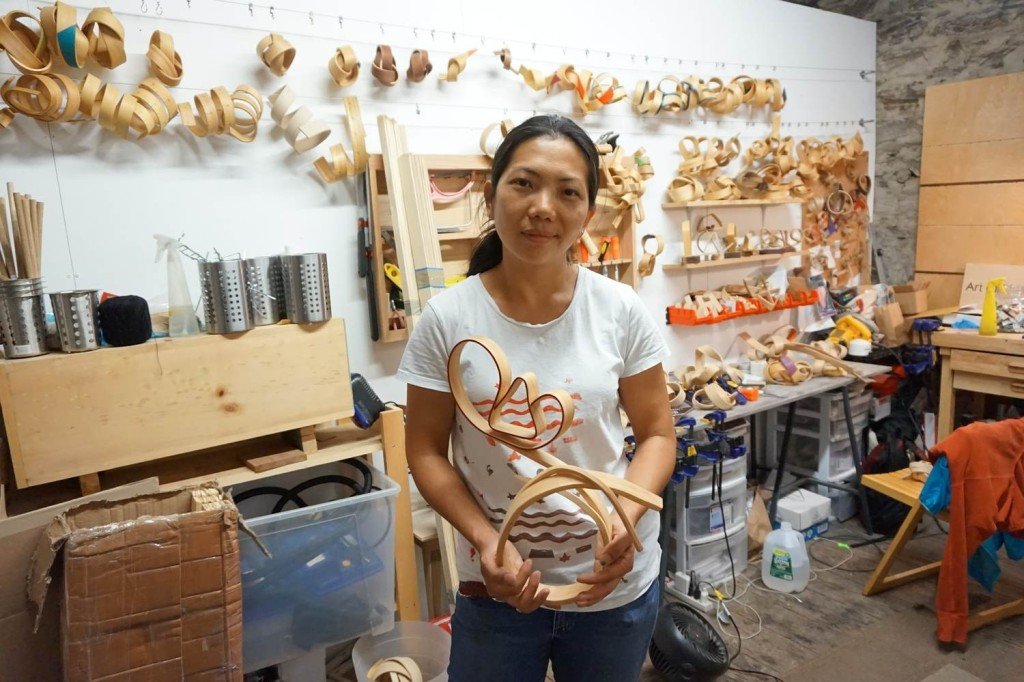 Jenny Wong-Stanley, an artist who sells her bent wood sculptures on Bulletin. Image: Bulletin