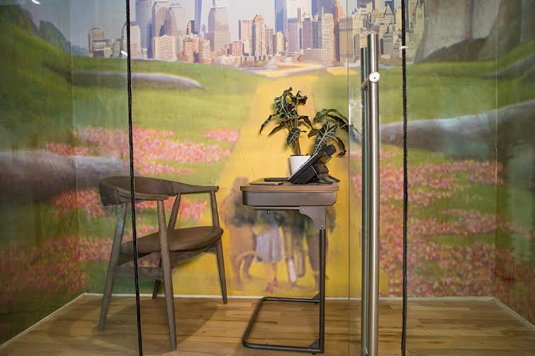 """Coworkrs Gowanus """"phone booth"""" with WhIsBe mural"""