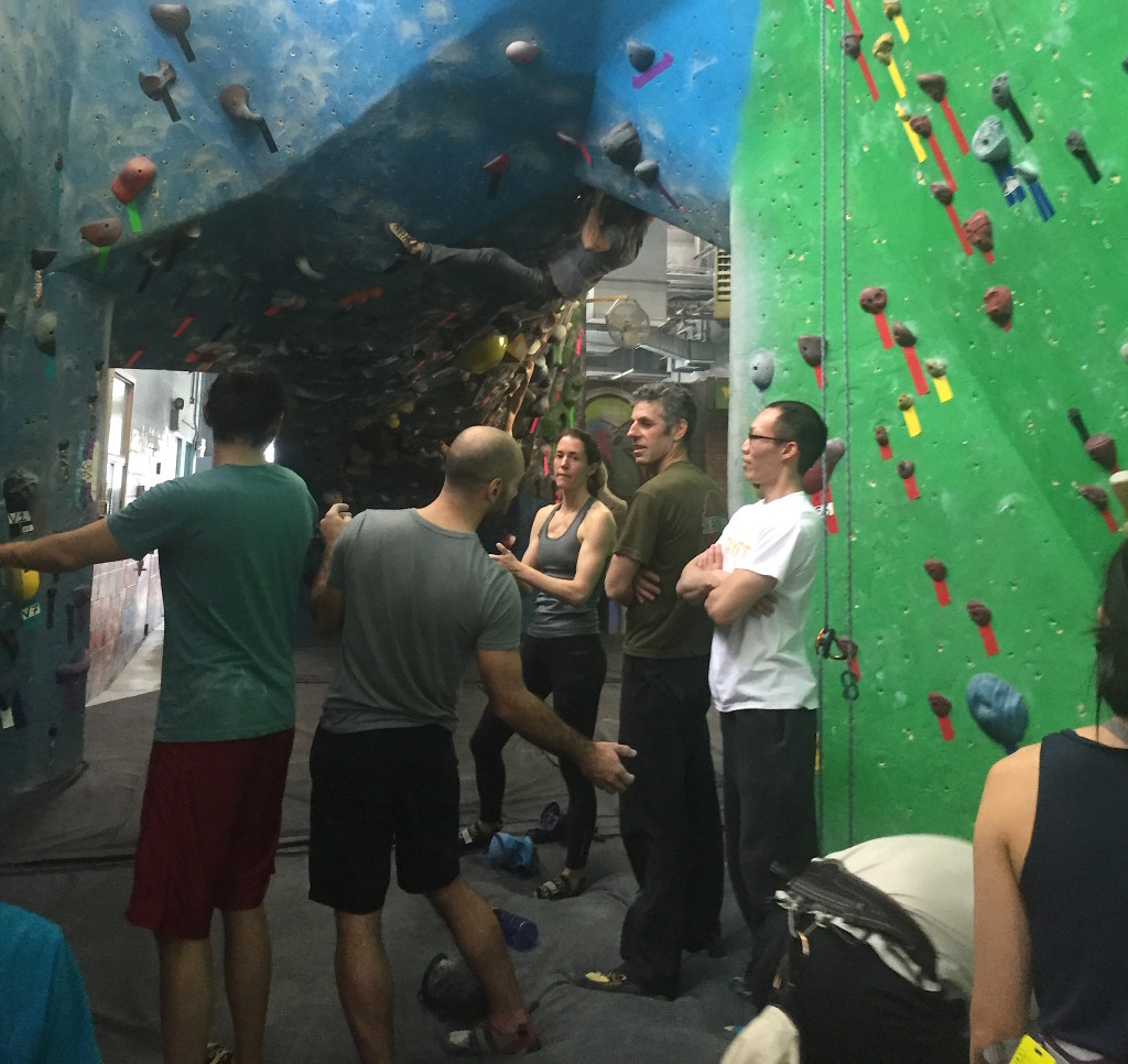 Climbers prepare to scale a surface at Brooklyn Boulders in Gowanus. Photo: Kathleen Wong