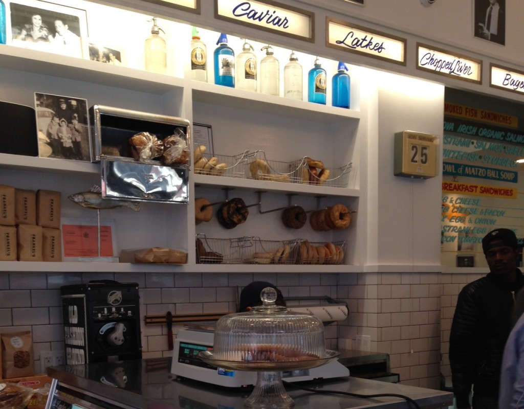 Bagels, seltzer bottles, subway tile, what else does a new, old-school Jewish deli that also serves bacon need? Photo: Annaliese Griffin