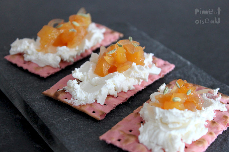 The French food blogger Piment Oiseau used beet-flavored matzo as a base for fresh cheese and pineapple chutney. Photo: Piment Oiseau